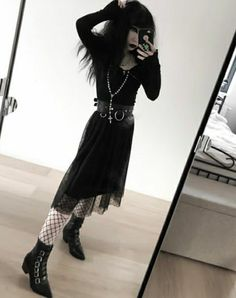 Edgy Outfits, Girl Outfits, Cute Outfits, Fashion Outfits, Alternative Outfits, Alternative Fashion, Manado, Gothic Fashion, Girl Fashion