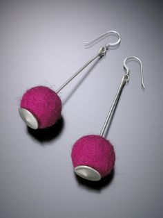 Cherry Bomb Earrings, shown in magenta,  Photo: Robert Diamante