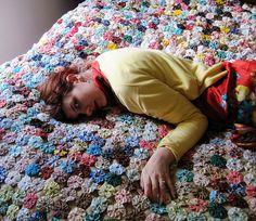 yoyo quilt by persephassa, via Flickr