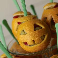 Halloween orange fruit salad