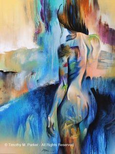 "Figure Art • Abstract Nude Art • Modern Figure Painting Reproduction • ""Waterfall"" • Contemporary Nude Fine Art Print by FigureArt on Etsy"