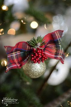 Homemade plaid ornaments on My Hunt Country aka Inspired by Ralph Lauren Christmas Tree
