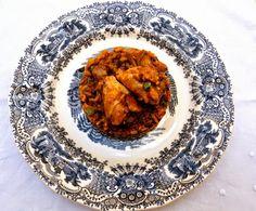 Arroz de pollo con alcachofas y guisantes