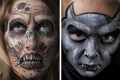 Zombie and Gargoyle, featured in Extreme Face Painting ^ch #facepainting #HalloweenMakeup