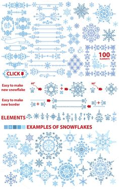 Snowflake winter set.Vector doodles by Tatiana Kost