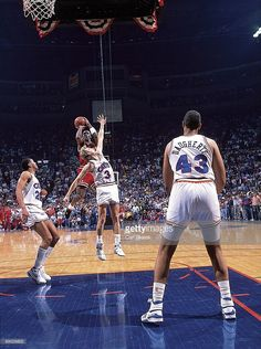Chicago Bulls Michael Jordan (23) in action, taking game winning, buzzer beater shot vs Cleveland Cavaliers Craig Ehlo (3). Game 5. The Shot. Richfield, OH 5/7/1989