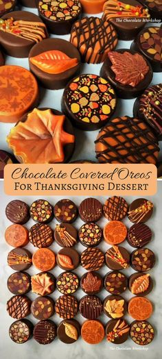I love these chocolate covered oreos that are decorated so cute for fall! Perfect for the Thanksgiving dessert table! #ad