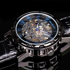 PACIFISTOR-Mens-Skeleton-Mechanical-Wrist-Watch-Steampunk-Black-Leather-Luxury