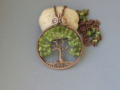 Tree of Life necklace pendant Copper Peridot olivine by MagicWire