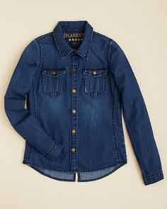 Blanknyc Girls' Snap Down Denim Shirt - Sizes S-xl