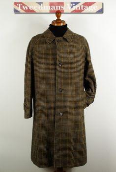 Mens long tweed coat overcoat. Large herringbone tweed weave ...