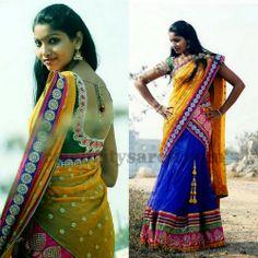 Half Sari with Kundans | Saree Blouse Patterns