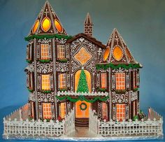 """Gingerbread Mansion 2015: 21"""" tall X 22"""" wide. Check out my blog to see how to make this!"""