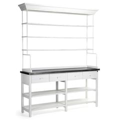Marion Classic White Industrial Metal Large Display Shelf Bakers Rack - transitional - Storage Units And Cabinets - Kathy Kuo Home Dvd Storage Shelves, Display Shelves, Storage Spaces, Shelving, Storage Units, Display Case, Eclectic Furniture, Country Furniture, Dining Room Hutch