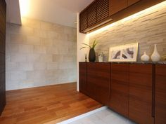 Built in with back lighting and backsplash House Design, House, Interior, House Entrance, Hall Decor, Japanese Interior, Interior Design, Wall Design, Living Room Tv Wall