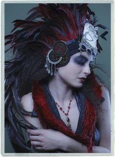 Shaman:  Aradia Designs. Feathered #headdress.