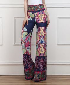 Love this Navy Fleur-de-Lis High-Waist Palazzo Pants by Reborn Collection on #zulily! #zulilyfinds