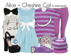"""""""Alice + Cheshire Cat"""" by leslieakay ❤ liked on Polyvore featuring John Lewis, Carolee, Paige Denim, Cutie, Allurez, Steve Madden, adidas Originals, disney, disneybound and disneycharacter"""