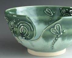 Large Dragonfly Yarn Bowl Knitting Bowl Emerald Green Mint Chocolate Chip Whimsical - Ready to Ship. $39.00, via Etsy.
