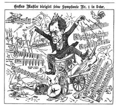 Cartoon image (artist unknown) of Mahler conducting his Symphony No. 1 - from the front page of Wiener Illustrated November 25, 1900