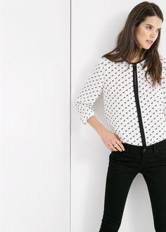 Bedruckte bluse mit borten - Damen | MANGO