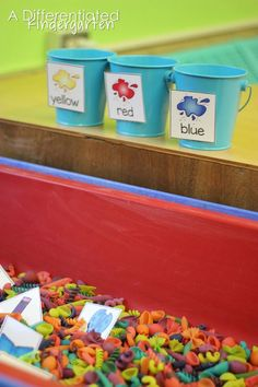 Differentiated instruction though sensory table activities in kindergarten.  Getting started, organizing and maintaining sensory activities throughout the year.