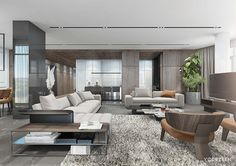 Versatile interior of a spacious residence in Kiev on Behance Living Room Modern, Living Room Interior, Home And Living, Living Room Designs, Living Room Decor, Living Spaces, Living Area, Luxury Apartments, Contemporary Interior