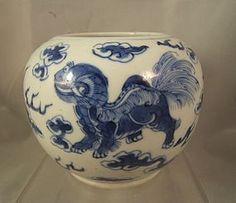 Chinese blue & white porcelain water pot Kangxi mark but C19th