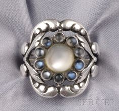 Sterling Silver and Moonstone Ring, Georg Jensen | Sale Number 2496, Lot Number 3 | Skinner Auctioneers