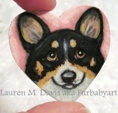 Tiny Pembroke Welsh Tri Corgi Dog Hand Painted Wooden 1.75 inch Heart Brooch Pin by Artist Lauren M Davis 2012 SOLD.  Custom Brooches of your Furbaby are 35.00 plus 3.50 Shipping.