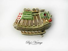 Sailboat Brooch, Nautical Pin, Enamel Boat Pin, Pirate Ship Jewelry by PegsVintageShop on Etsy
