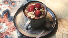 Chocolate rice pots with raspberries, honey and almonds Gino's Italian, Italian Cooking, Italian Recipes, Italian Chocolate, Full Fat Milk, Salted Butter, Raspberries, Desert Recipes, 4 Ingredients