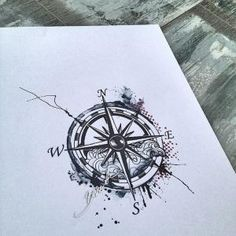 Compass tattoo watercolor trash polka modern wave by AislingH