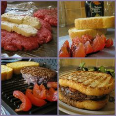 Mozzarella stuffed burger on garlic bread with grilled balsamic tomatoes. incredible!! must make!