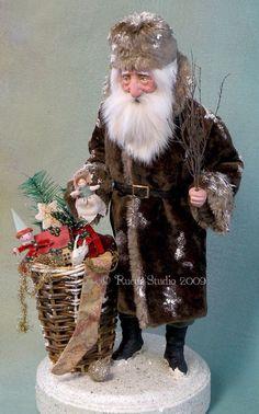 re-creating antique spun cotton ornaments Very Merry Christmas, Santa Christmas, Vintage Christmas, Christmas Elf Doll, Father Christmas, Santa Baby, Dear Santa, Primitive Santa, Santa Doll