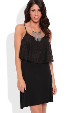 Deb Shops Aztec Lace A-Line Dress with Embroidered Bodice $30.00