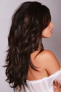 Long, layered, dark warm brown hair - Click image to find more hair posts
