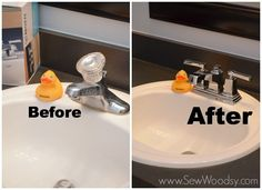 {Tutorial} How to Install the Moen Boardwalk Centerset Bathroom Faucet - Sew Woodsy Bathroom Before After, Room Cooler, Diy Deck, Budget Bathroom, Bathroom Remodeling, Sculptural Fashion, Bathroom Faucets, Bathrooms, Simple House