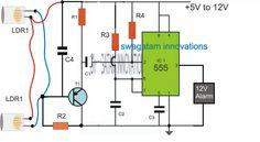 Smart Laser Alarm Protection Circuit using IC 555