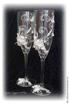 """Свадебные бокалы """"Белая орхидея"""". Handmade."""