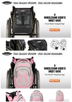 Use a Wheelchair? Need a bag to carry your stuff? We design and manufacture the best wheelchair bags on the market today! We have a size for every chair, take a look; www.WheelchairGear.com
