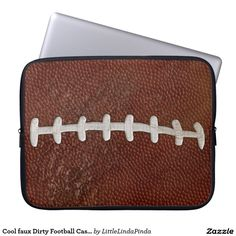 Cool faux Dirty Football Cases for Laptop, Tablets. Faux Football threads and dirt make this case very cool CLICK: http://www.zazzle.com/cool_faux_dirty_football_cases_for_laptop_laptop_sleeve-124870140318871374?rf=238147997806552929 Great Football Christmas Gifts for football players, fans and football lovers. MORE HERE: http://www.zazzle.com/littlelindapinda/gifts?cg=196273503132495557&rf=238147997806552929 CALL Linda to have this football design on another product, CHANGES, HELP…