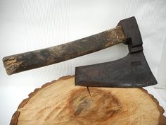 Unique Antique old Rare Wrought Hewing Goosewing Steel Axe Hatchet, Marked