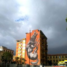 The Iron sky on Testaccio, Roma, Italy #testaccio #roma #viagalvani #streetart #art #stencil #aerosolart #spry #spryart #murales #murale #streets #rome #italy #ironsky #sky #clouds #wolf
