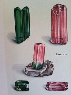 antique GEMSTONE PRINT jewel TOURMALINE WATERMELON  precious stones GEM  #10
