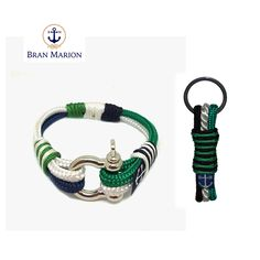 Bran Marion Green, White and Black Nautical Bracelet & Keychain Nautical Bracelet, Nautical Jewelry, Marine Rope, Everyday Look, Handmade Bracelets, Jewelry Collection, Green, Accessories, Car Keys