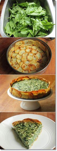 Tarta de espinacas y ricotta | 600 gr de patatas, 2 cdas de aceite de oliva, 350 g de hojas de espinacas cocidas y escurridas, 2 huevos, 1 taza de ricotta, 100 g de queso feta desmenuzado, cáscara rallada de limón, sal, pimienta, 1 1/2 tazas de hierbas de primavera picadas (perejil, cebollino, eneldo).