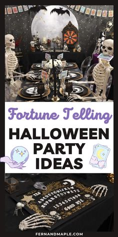 Host a Mystical Misfortune Halloween Dinner Party complete with DIY fortune-teller booth, tarot placecards, and a ouija-inspired serving tray! Get details and tons more party inspiration now at fernandmaple.com!