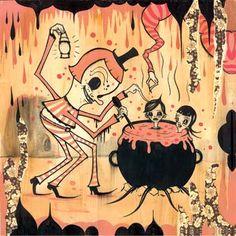 Camille Rose Garcia Who's Afraid of the Peppermint Man 2003 Illustrations, Illustration Art, Camille Rose Garcia, Surreal Artwork, Lowbrow Art, Pop Surrealism, Retro Art, Art Model, Whimsical Art