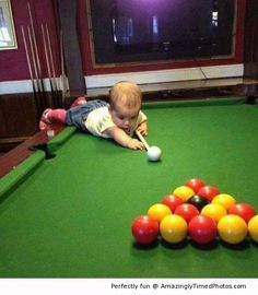 Introduction to how to play pool do it yourself today pinterest baby learns to play pool it takes learning to master the game this baby solutioingenieria Image collections